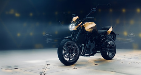 Modern sports motorcycle with technology user interface details  (3D illustration) Fototapete