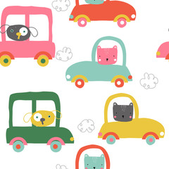 Funny animals in cars seamless pattern. Cute kids print. Vector hand drawn illustration.