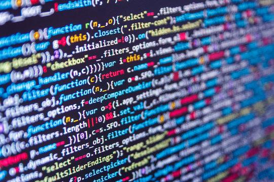 Web programming functions on laptop on laptop. Software developer programming code on computer monitor. IT business. Art design website digital page.