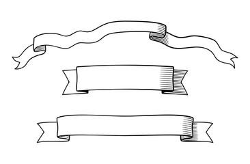 Set of decorative retro-style ribbons. Black and white vector illustration