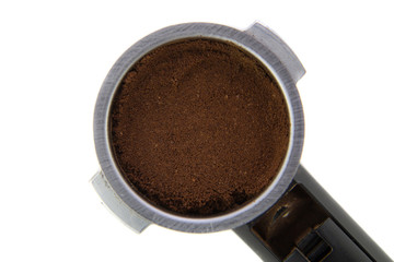 Filter Holder with ground coffee