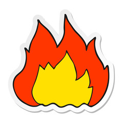 sticker of a cartoon fire