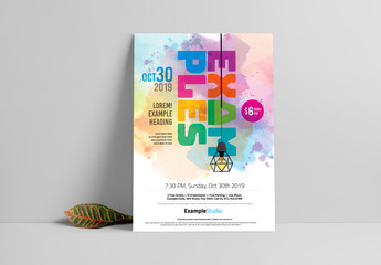 Event Poster Layout with Watercolor Design Element