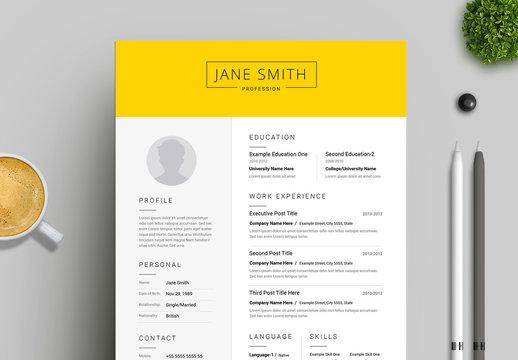 Yellow and White Resume Layout
