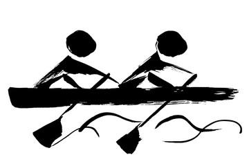 筆絵 ボート競技のシルエット