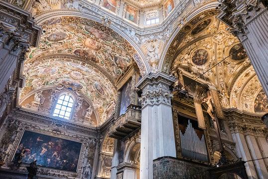 Dome of the Cathedral. Basilica Santa Maria Maggiore in Citta Alta, Bergamo, Italy. Historical architecture of Old town or Upper City in Bergamo. Reneissance church in Bergamo at summer.