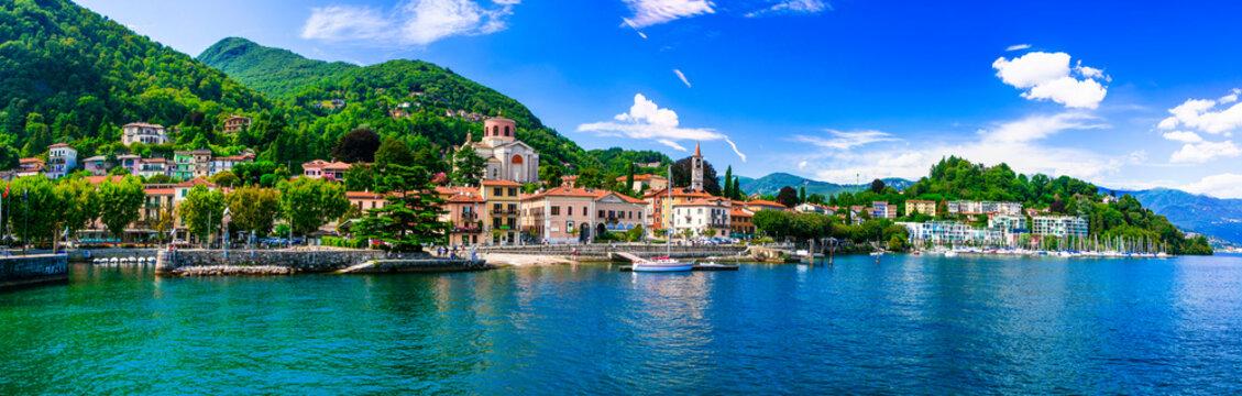 Picturesque lake Lago Maggiore. beautiful Laveno Mombello town. north of Italy
