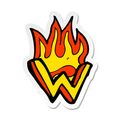 sticker of a cartoon flaming letter