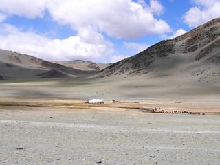 Traditional dwelling of Mongolian nomadic yurt in May