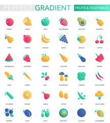 Vector set of trendy flat gradient Fruits and vegetables icons.