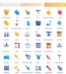 Vector set of trendy flat gradient Household icons.