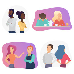People couples during conflict quarrel or disagreement. Set of offended men and women quarreling, bickering each other cartoon vector illustration.