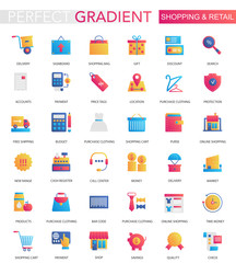 Vector set of trendy flat gradient Shopping retail icons.
