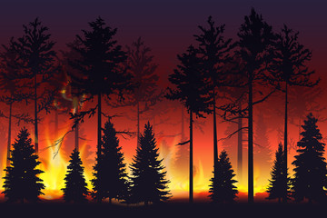 Wild fire in the night forest. Natural disaster. Wildfire. Black silhouette trees on fire realistic vector illustration.