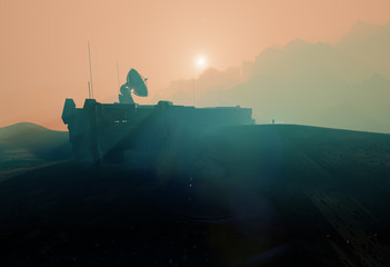Space base on Mars, misty sunset landscape, 3d illustration