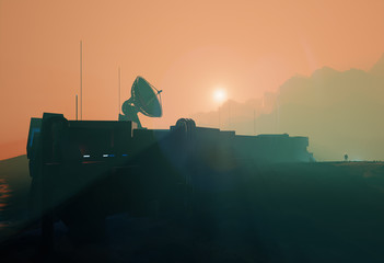 Space base radar dish in planet Mars misty sunset,  3d illustration landscape