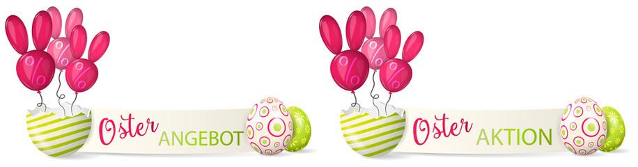 Ostern Aktion Angebot Banner Set mit Osterhase Ballons und bemalten Ostereiern
