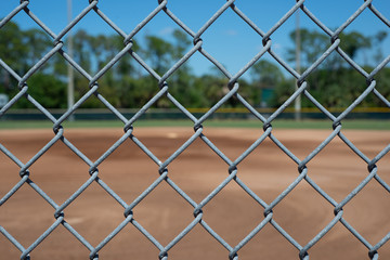 Chain link fence baseball field