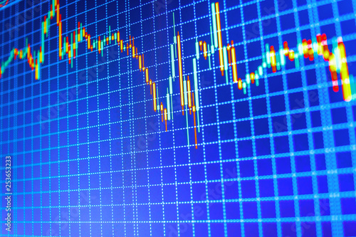Stock market chart on LCD screen  Bitcoin price watch