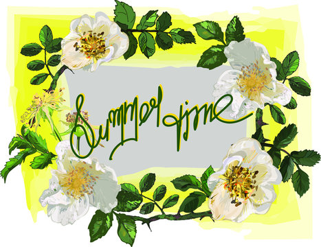 The wreath is a frame from the branches of a white wild rose, the inscription is in yellow with a green shadow, the background is gray, the frame is yellow. Invitation, token, a card to a bouquet.