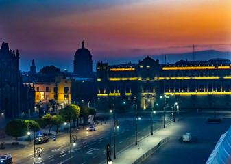 Zocalo Presidential National Palace Sunrise Mexico City Mexico