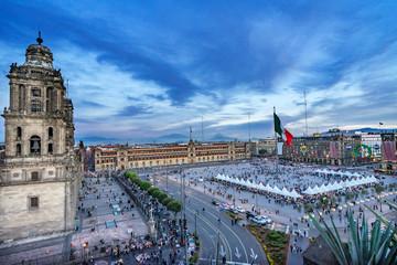 Metropolitan Church Presidential Palace Zocalo Chrsitmas Flag Mexico City Mexico