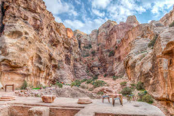 Rock formation in front of the Garden hall at Petra, Jordan