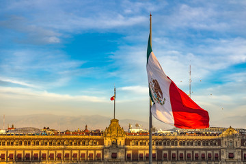 Mexican Flag Presidential National Palace Balcony Monument Mexico City Mexico