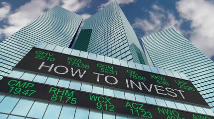 How to Invest Make Money Stock Ticker Buildings 3d Illustration