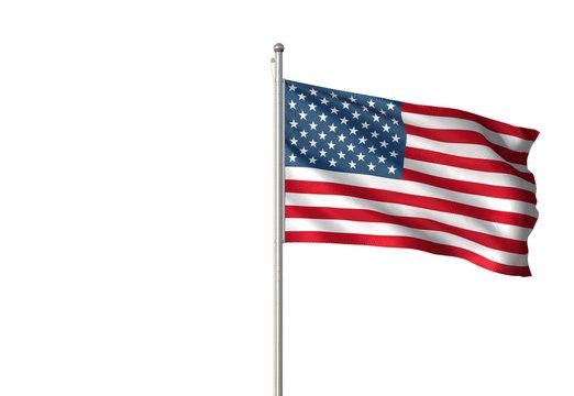 United States flag waving isolated white background 3D illustration