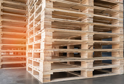 stack of wooden pallets for industrial and logistics.