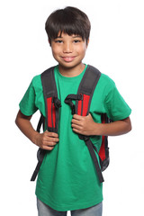 Smiling Asian school student with red backpack