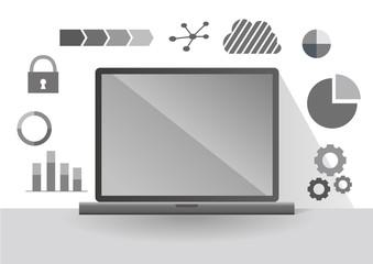 フラットデザインのパソコンのイラストとインターネットイメージ