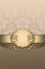 Wall Mural - Vintage background with decorative frame and elegant floral patterns.