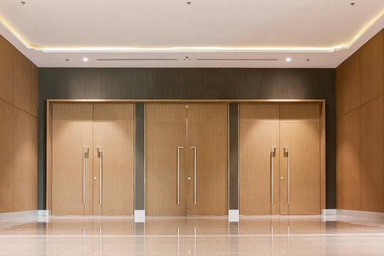 wood door entrance closed of hall in hotel