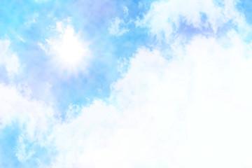 水彩絵の具で描いた夏の青空と雲と太陽