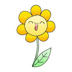 quirky gradient shaded cartoon happy flower