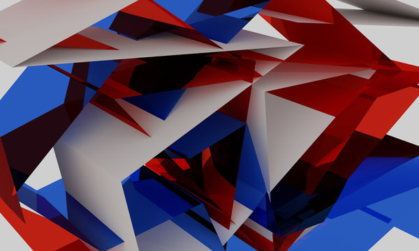 3D illustration of red and blue background