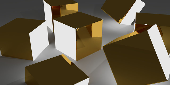 3d illustration of golden cubes with light