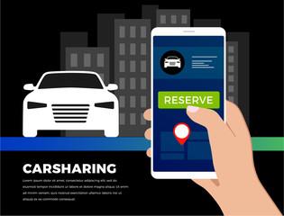 Carsharing carpooling service illustration concept