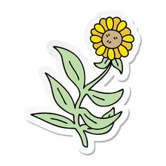 sticker of a quirky hand drawn cartoon flower