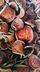 Close up of dried bael fruit background