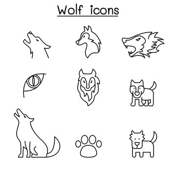 Wolf icon set in thin line style vector illustration graphic design