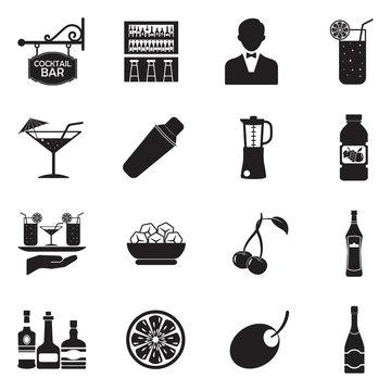 Cocktail Icons. Black Flat Design. Vector Illustration.