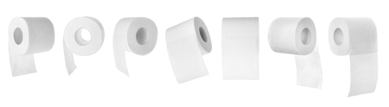 Set of toilet paper rolls on white background