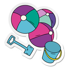 sticker cartoon doodle beach balls with a bucket and spade
