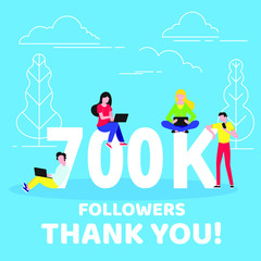 d4e45c63c62 Thank you 700000 followers numbers postcard. People man, woman big numbers  flat style design