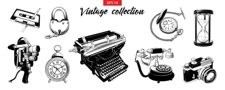 Vector engraved style illustration for logo, emblem, label or poster. Hand drawn engraved sketch set of vintage odjects isolated on white background. Detailed vintage doodle drawing.