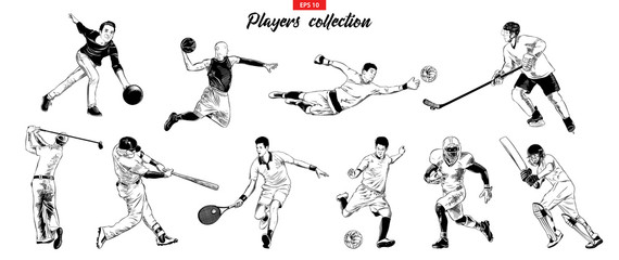 Vector engraved style illustrations for posters, logo, emblem and badge. Hand drawn sketch set of sport players isolated on white background. Detailed vintage etching collection. Woodcut, linocut.
