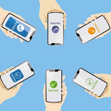 Smartphone settlement screen, smartphone settlement, image of QR code settlement, vector data showing QR code settlement held in multiple hands